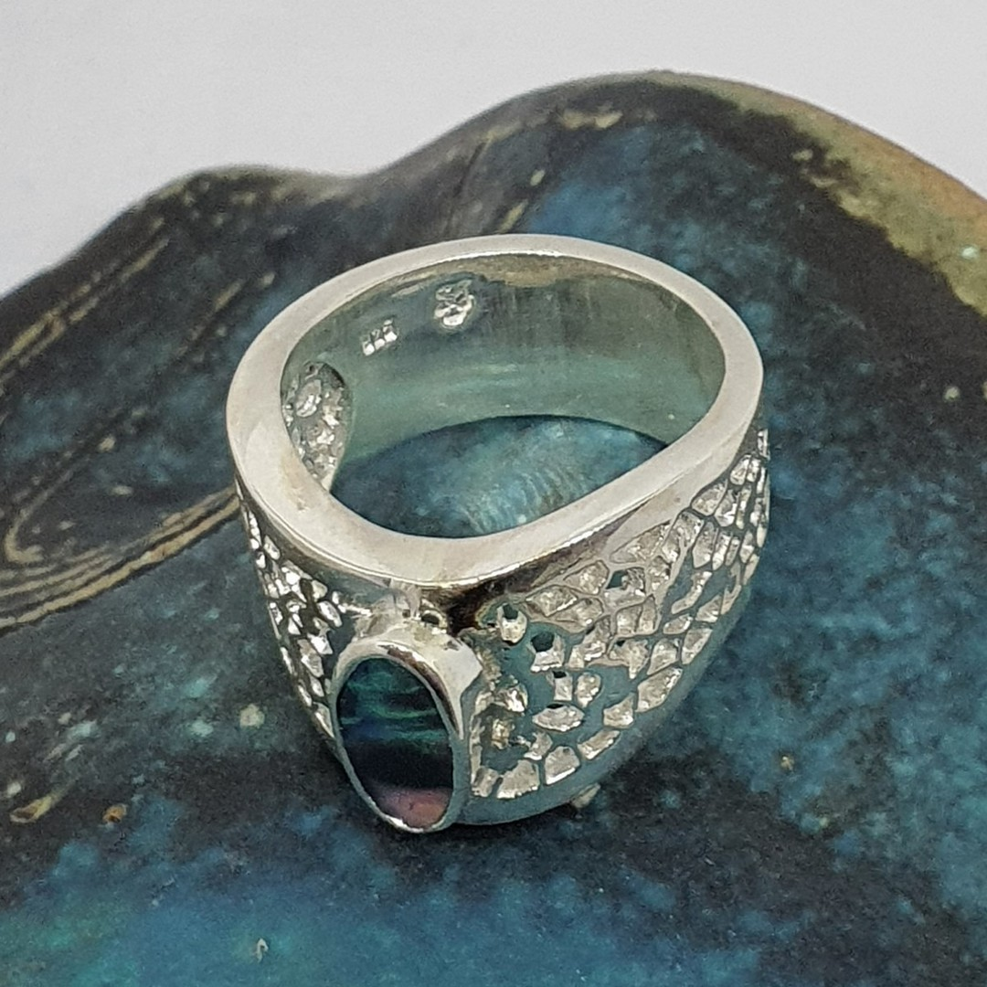 Chunky silver opal ring - made in NZ image 3