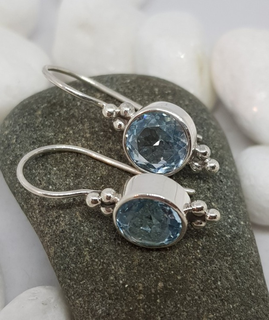 Sterling silver blue topaz hook earrings image 1