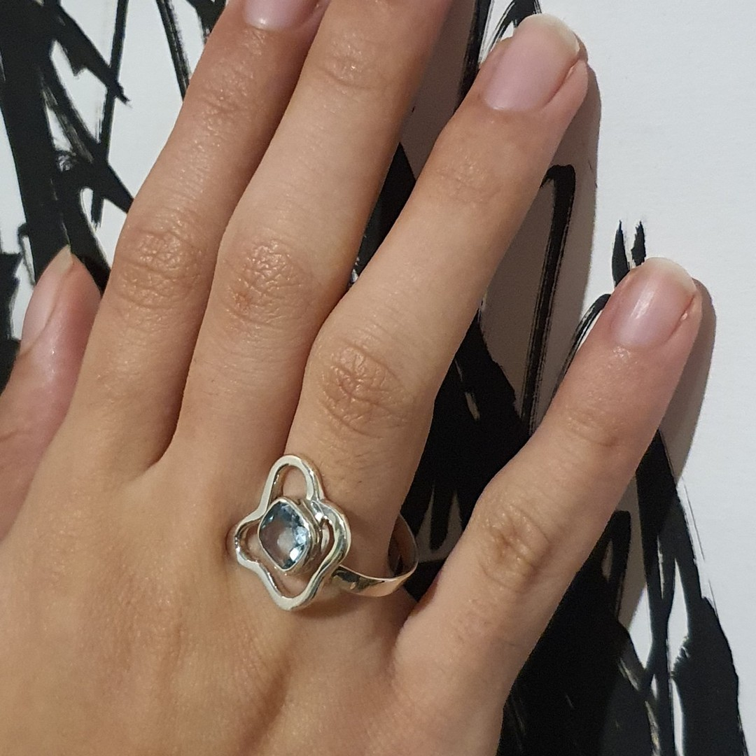 Sterling silver blue topaz ring - last 2 in stock image 3
