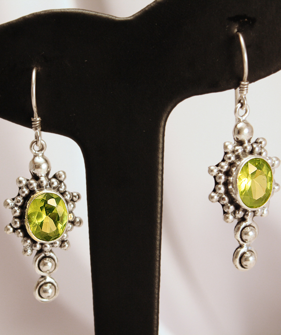 Large ornate silver peridot earrings with a gorgeous image 2