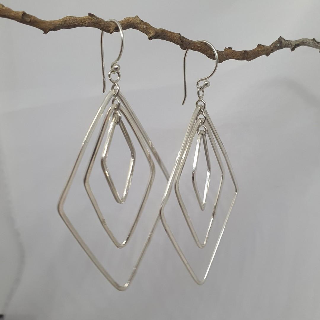 Silver large dangle earrings image 2