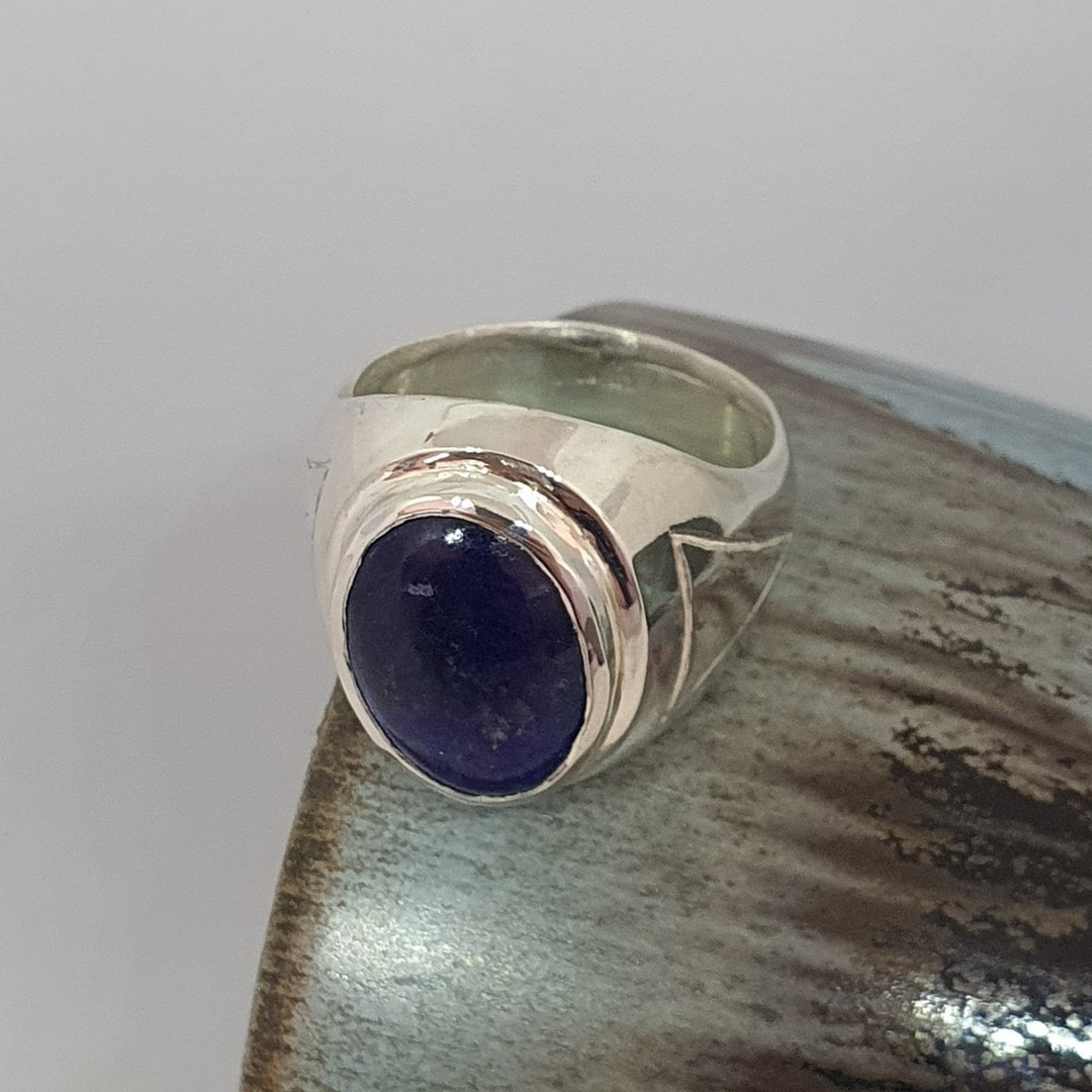 Chunky silver oval lapis lazuli ring - made in NZ image 3