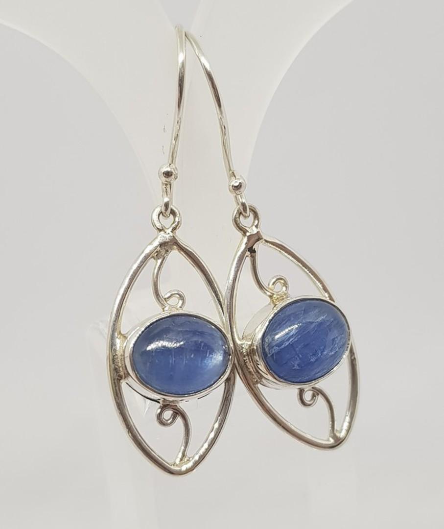 Sterling silver blue kyanite gemstone earrings image 1