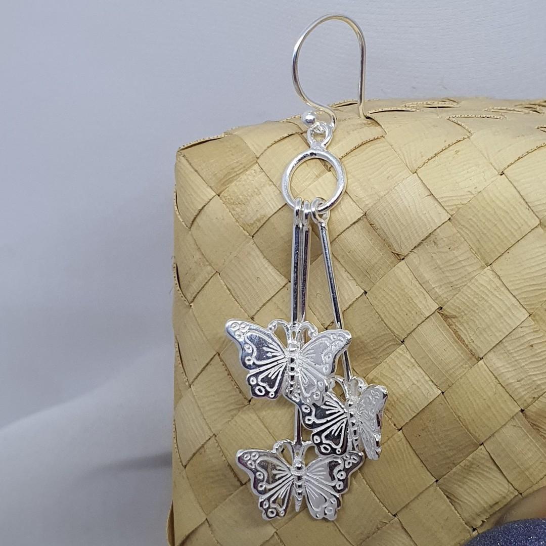 Sterling silver butterfly earrings image 2