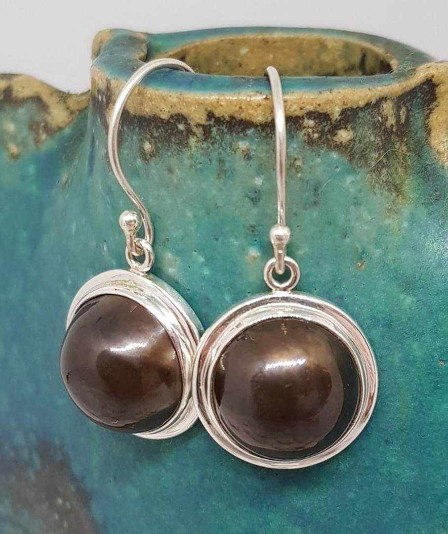 Sterling silver black pearl hook earrings image 3
