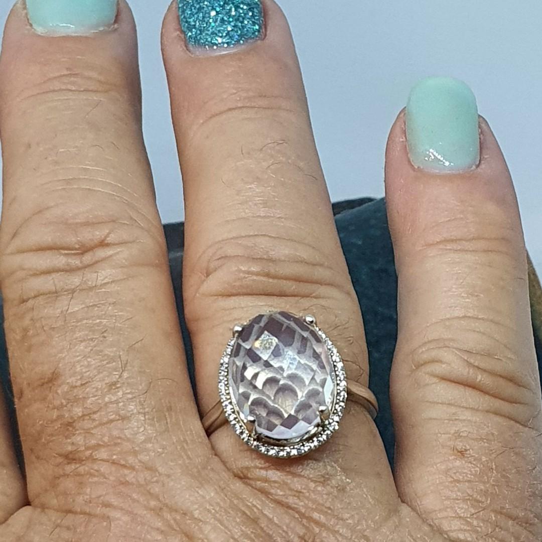 Large oval rose quartz silver ring image 1