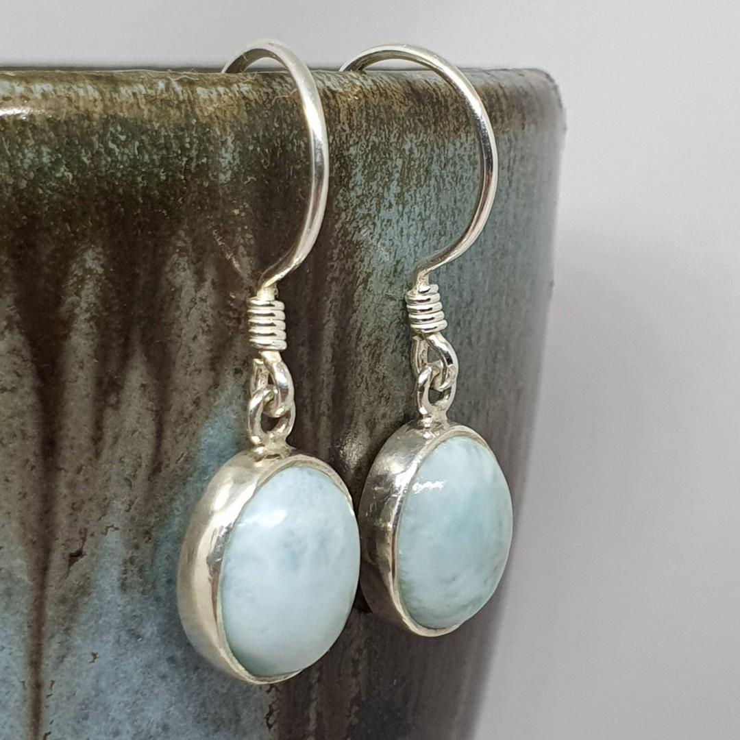 Sterling silver oval larimar gemstone earrings image 1