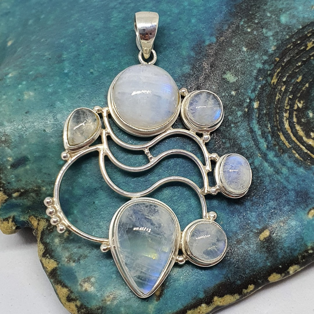 Large sterling silver moonstone pendant image 0