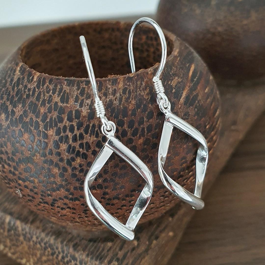 Sterling silver small hooked hoop earrings image 2