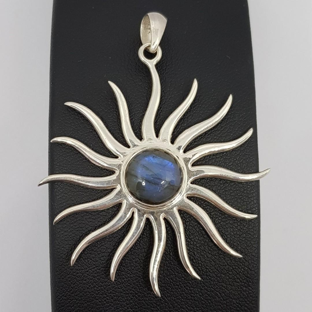 Sterling silver starburst pendant with labradorite image 0