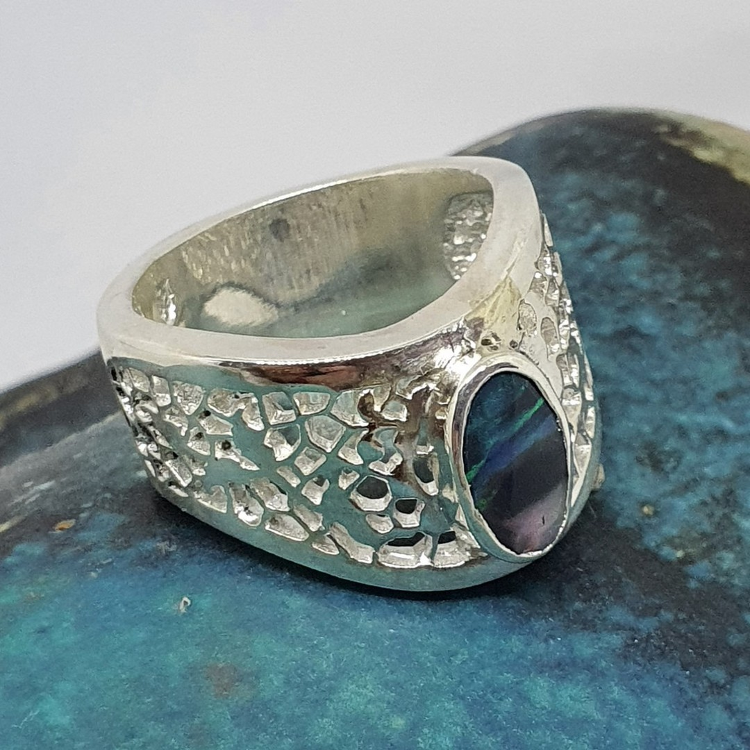 Chunky silver opal ring - made in NZ image 0