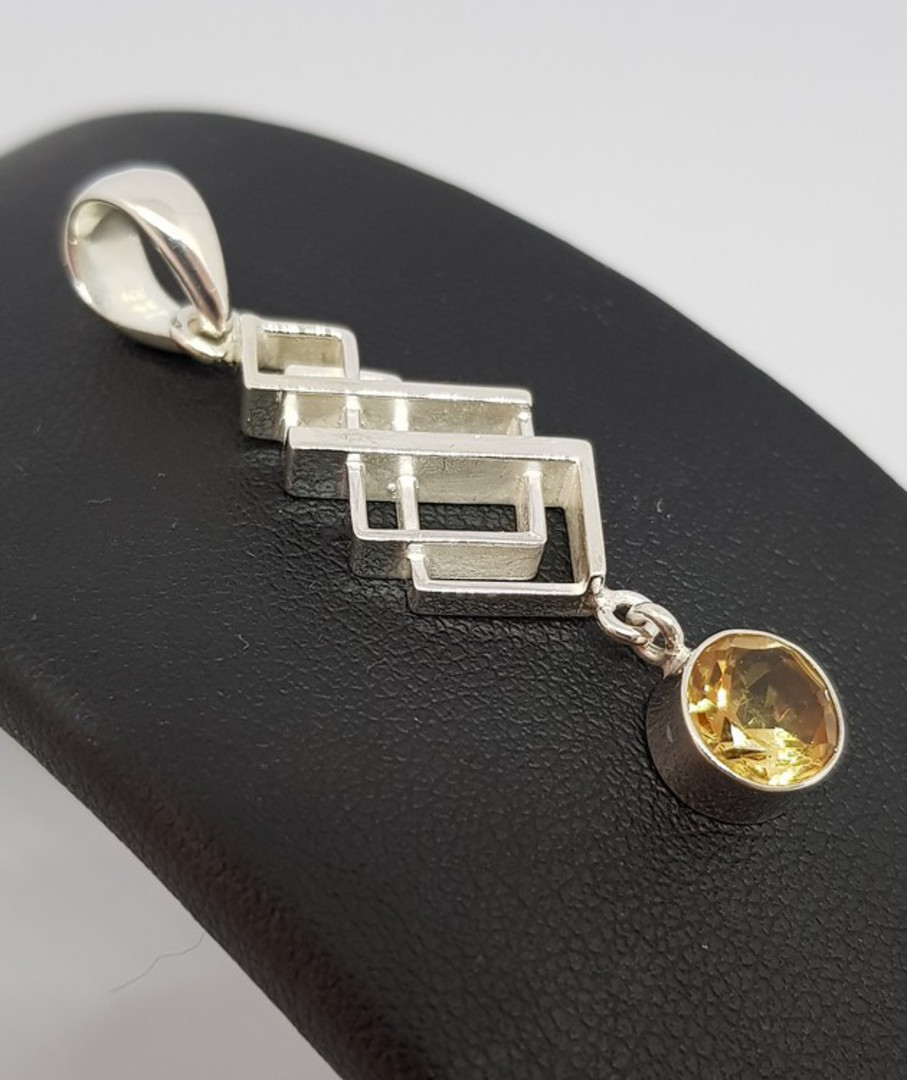 Silver pendant with citrine coloured gemstone image 1