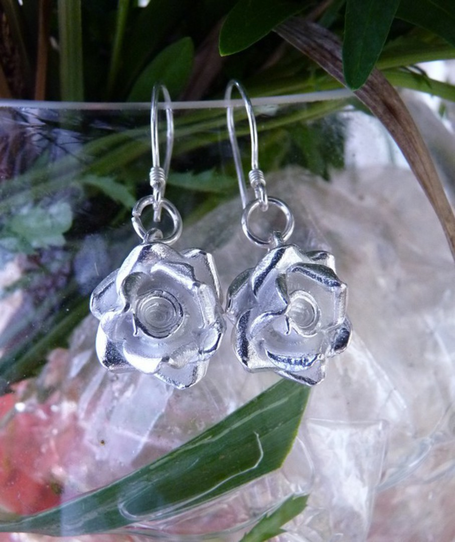 Silver rose earrings, romantic and alluring - last pair image 1