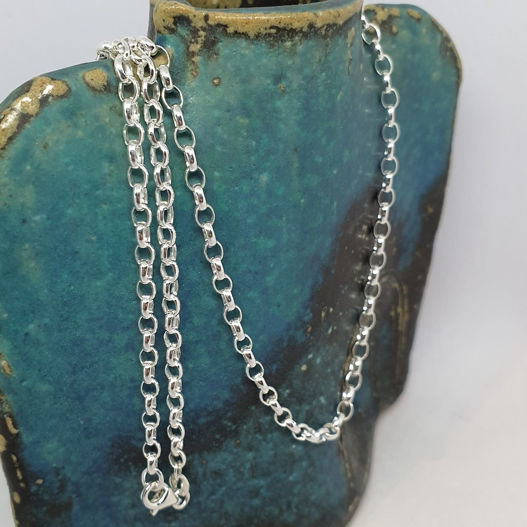 Sterling silver oval belcher chain, 60cms long image 0