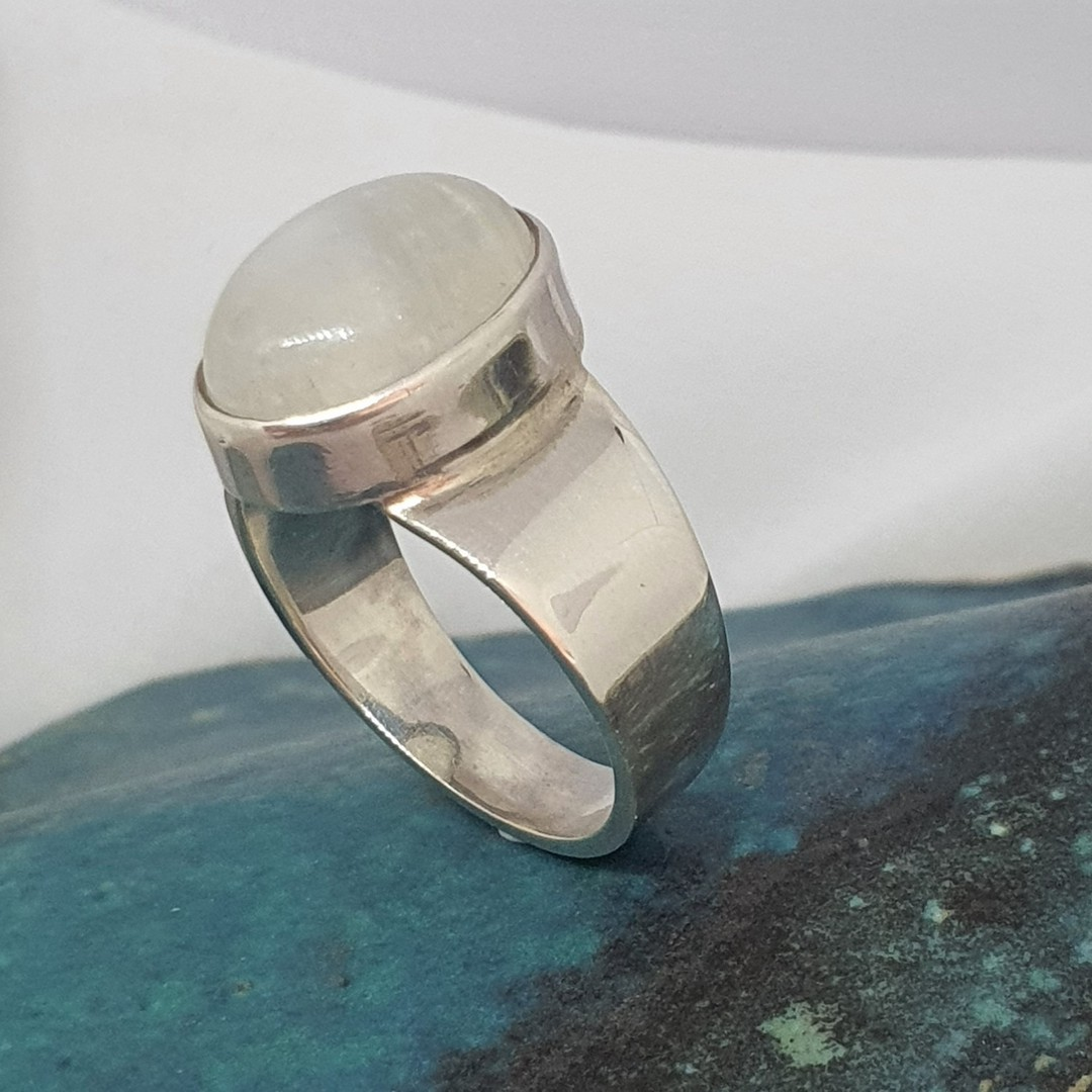 Sterling silver oval moonstone ring image 2