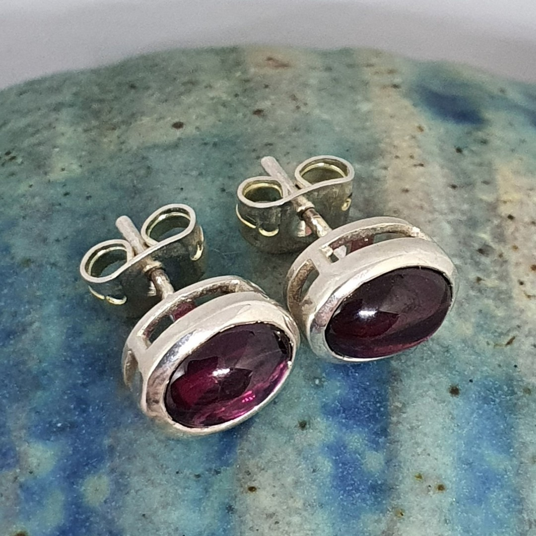 Natural amethyst sterling silver stud earrings image 2