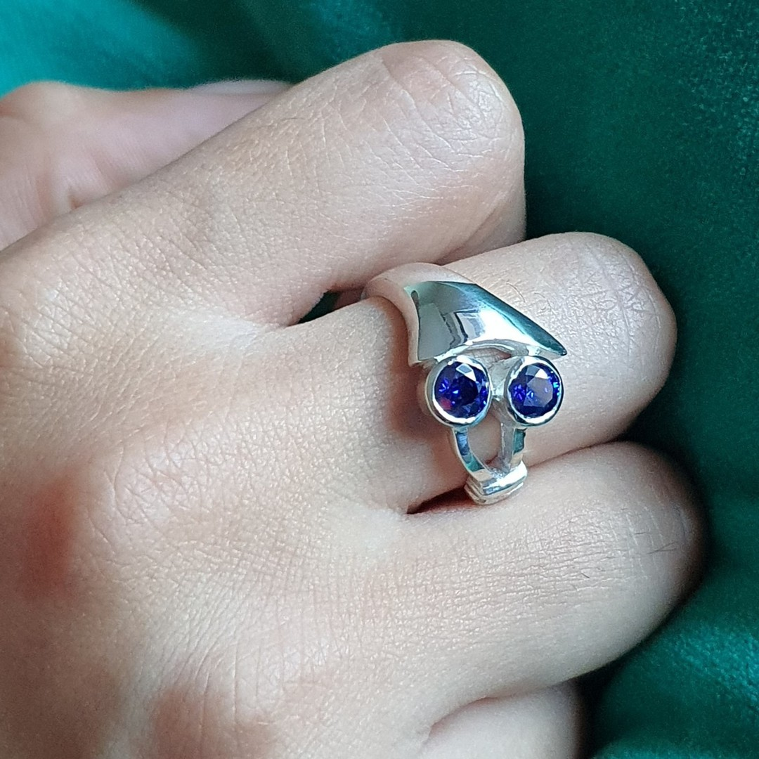 Sterling silver blue gemstone ring, made in NZ image 1