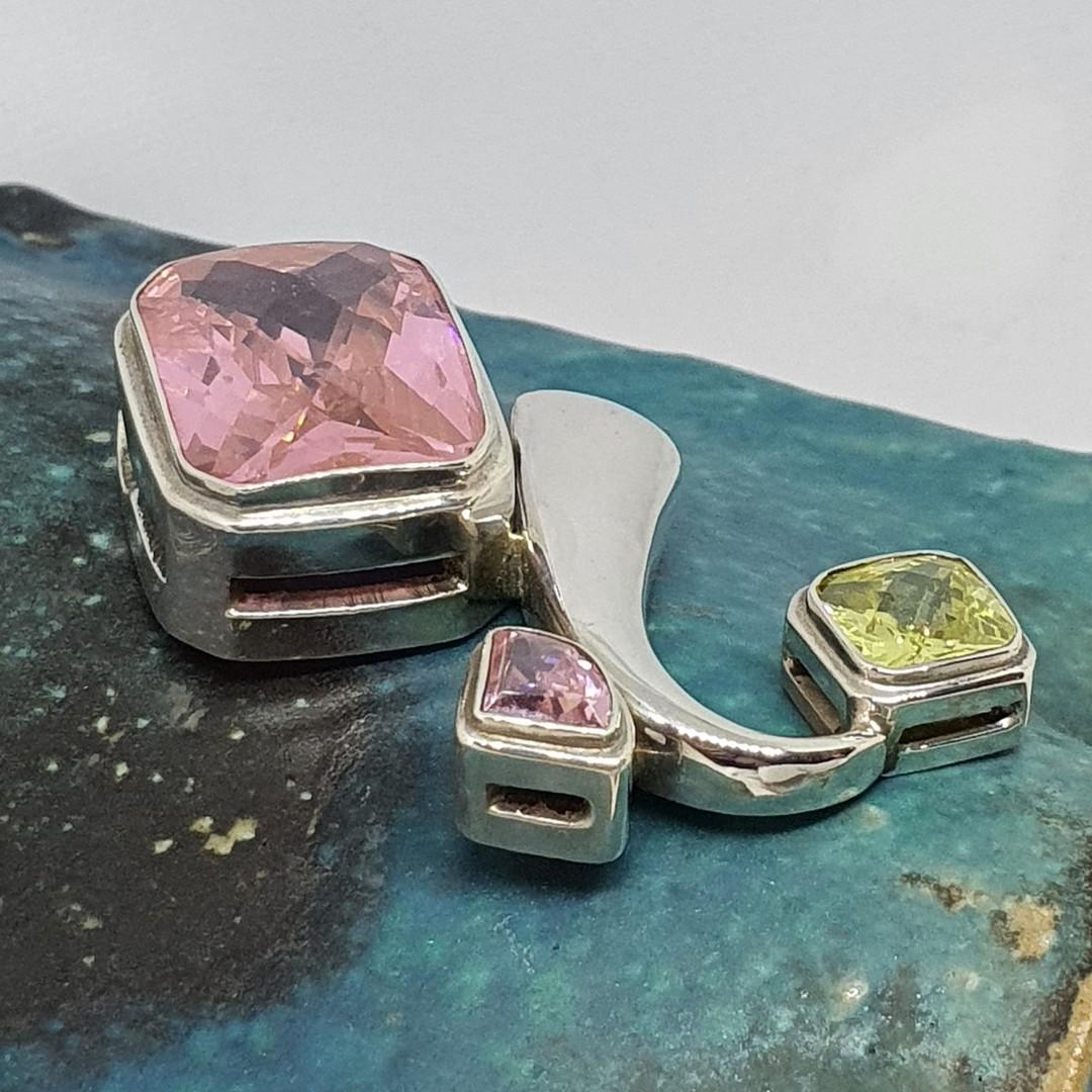 Large sterling silver pink gemstone pendant image 2