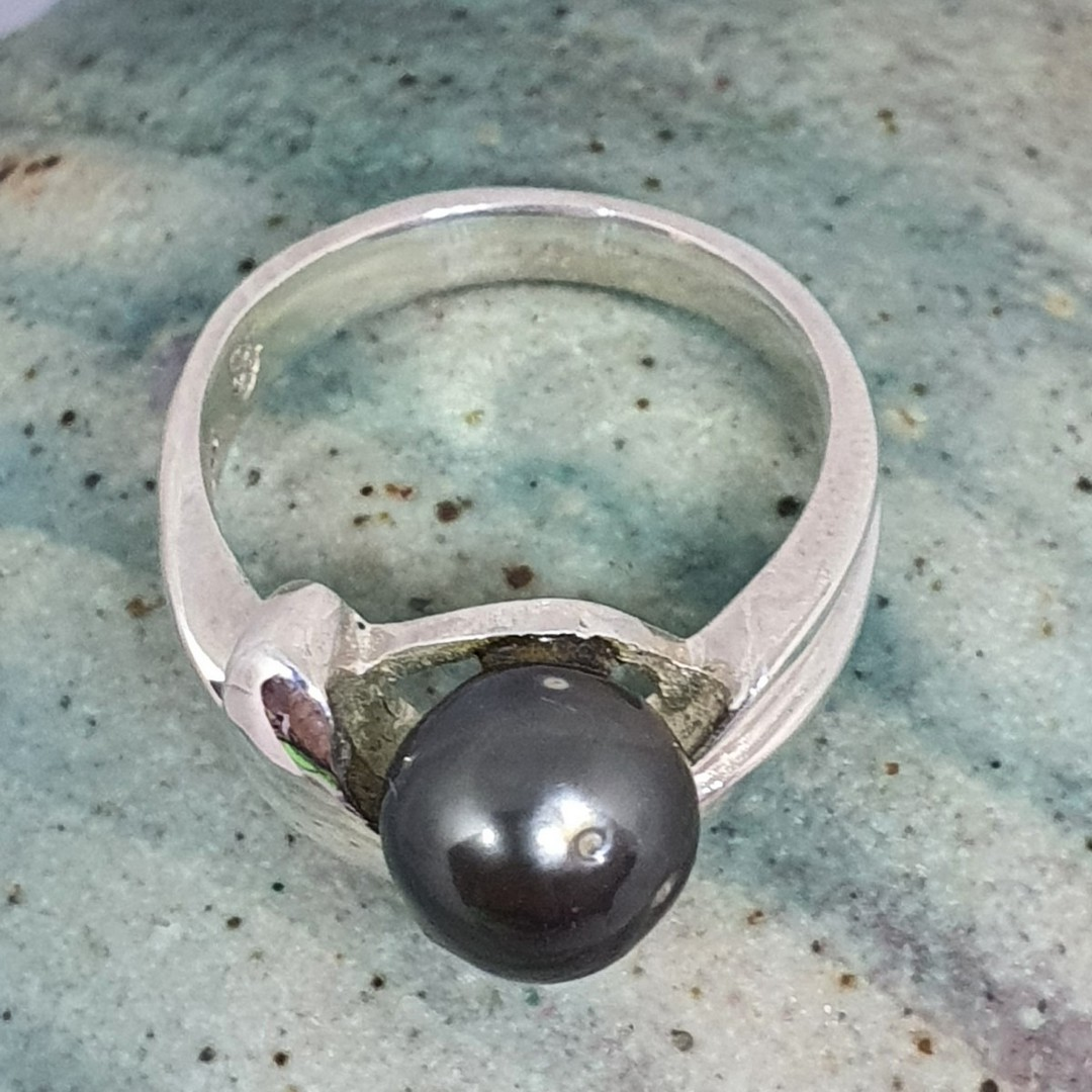 Sterling silver black pearl ring - made in NZ image 2