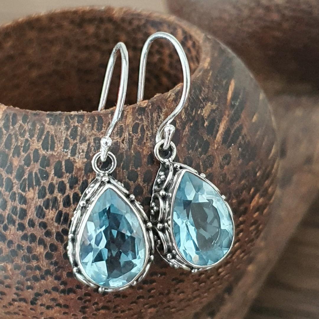 Dazzling blue topaz teardrop silver hook earrings image 2