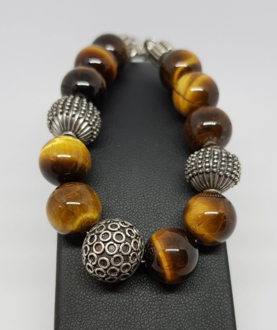 Tigers eye and silver beaded bracelet - made in NZ image 0
