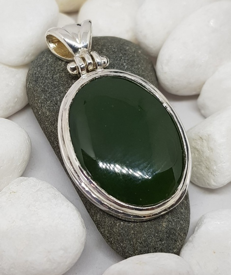 Made in NZ Silver Greenstone Pendant image 0