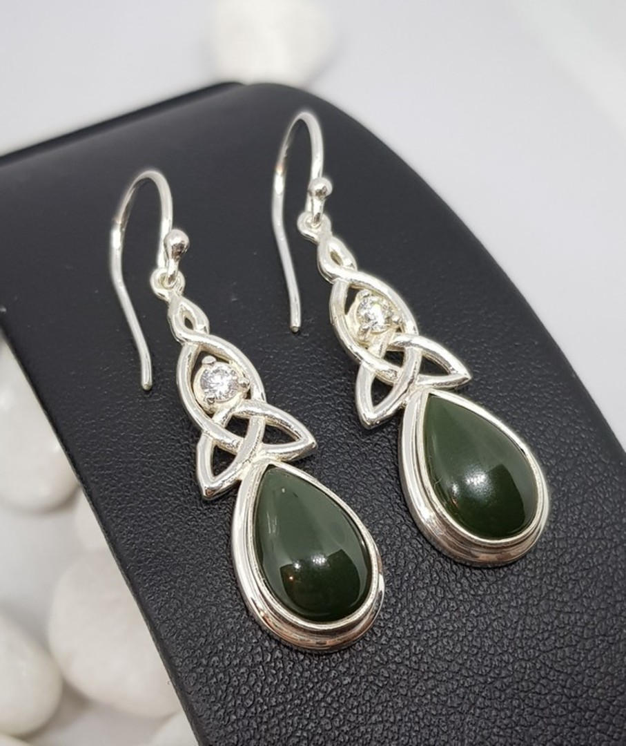 NZ greenstone (pounamu) silver earrings image 3