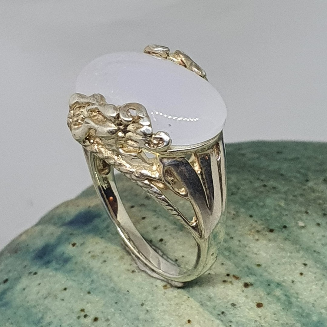 Sterling silver milky blue chalcedony ring image 2