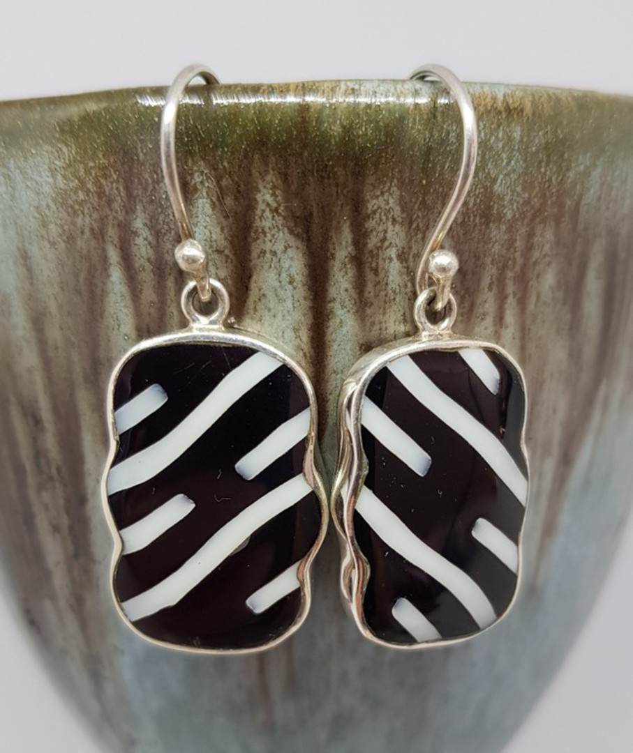 Black and white rectangle silver earrings image 0