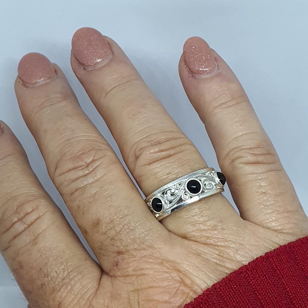 Sterling silver black onyx ring with koru swirls image 3
