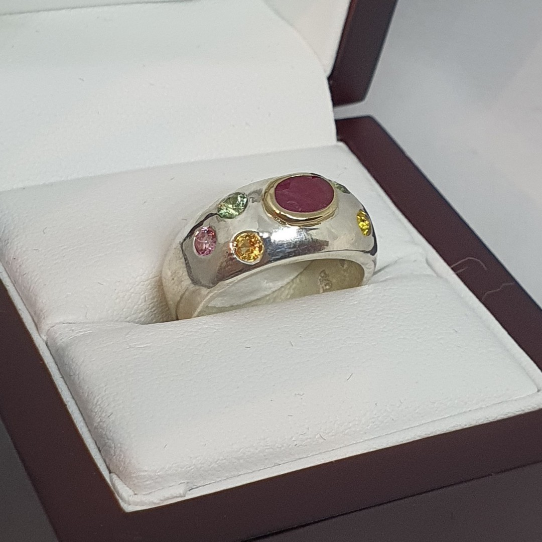 Made in NZ, silver ring with ruby and natural gemstones image 2
