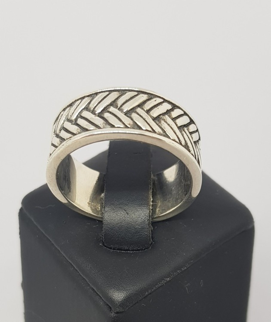 Sterling silver wide band ring with basket weave pattern image 1