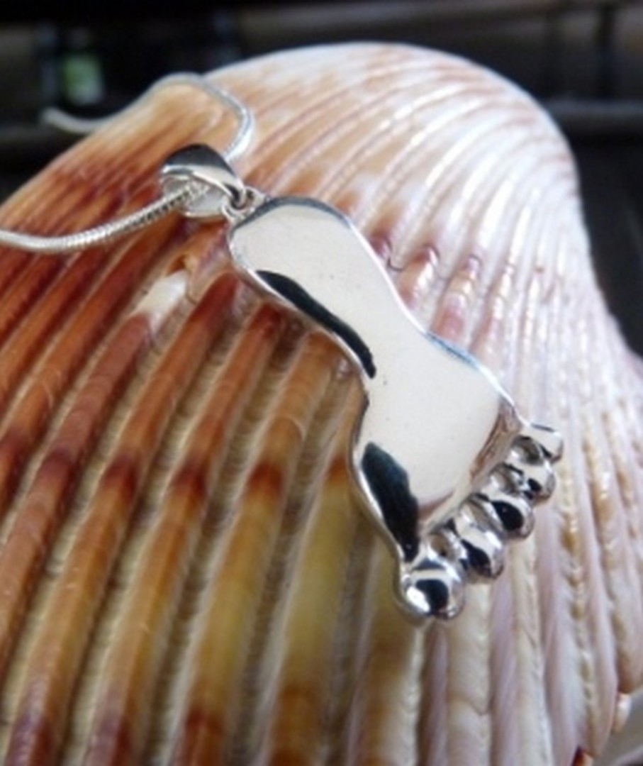 Solid Sterling Silver Foot Pendant image 1