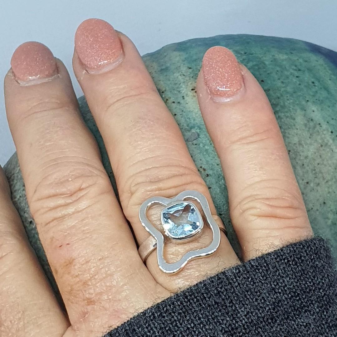 Sterling silver blue topaz ring - last 2 in stock image 2