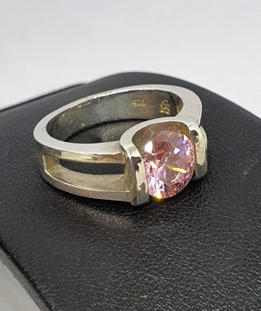 Sterling silver pink gemstone ring - made in NZ image 2