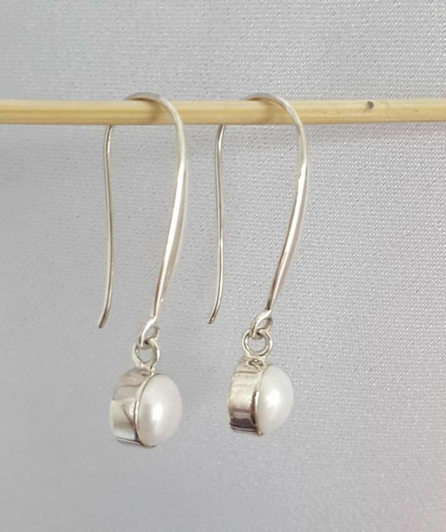 Fresh water pearl earrings, long drop, elegance + image 4