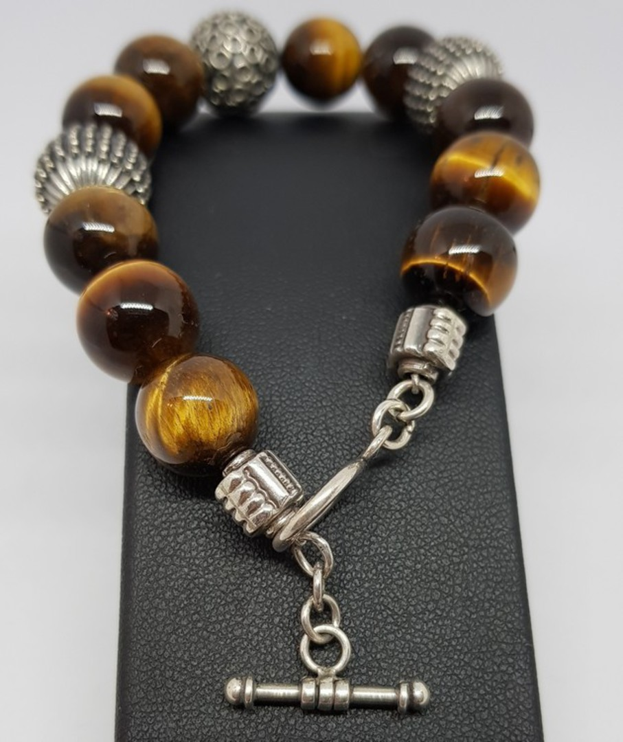 Tigers eye and silver beaded bracelet - made in NZ image 3
