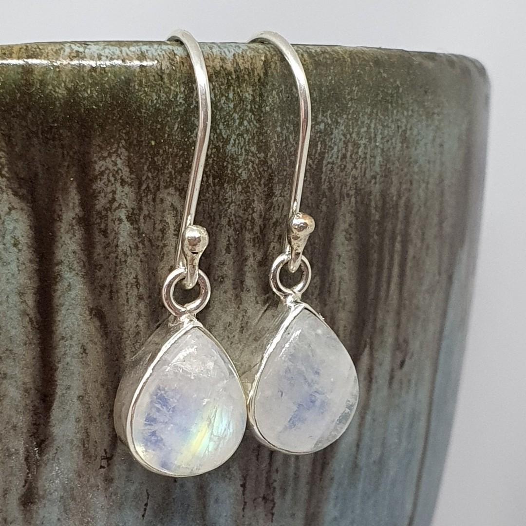 Small teardrop moonstone silver earrings image 2