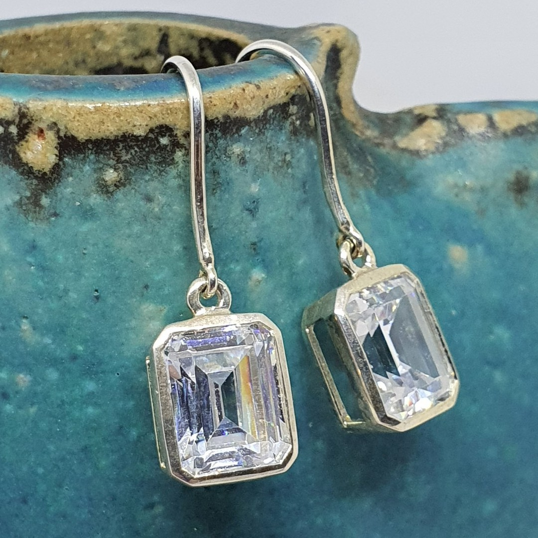 Rectangle cut cubic zirconia sterling silver earrings image 0