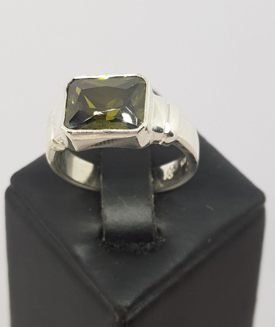 Sterling silver green gemstone ring, rectangle shape image 1