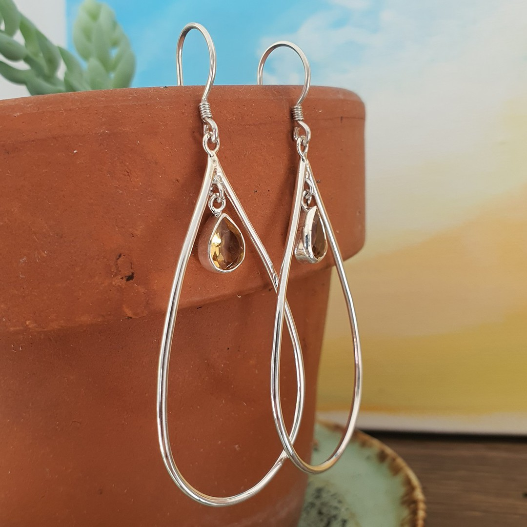 Oval silver hook earrings with citrine image 0