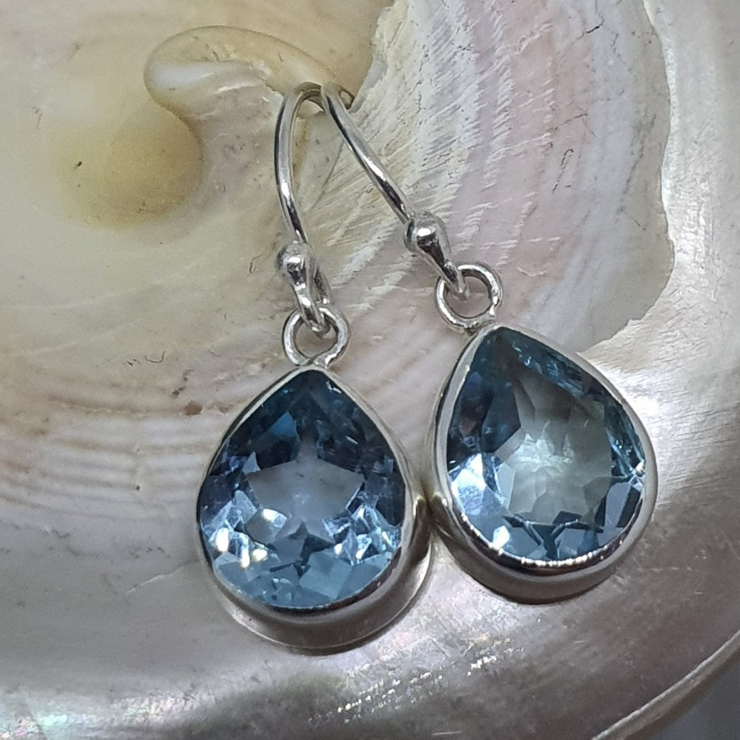 Sterling silver blue topaz teardrop earrings image 2