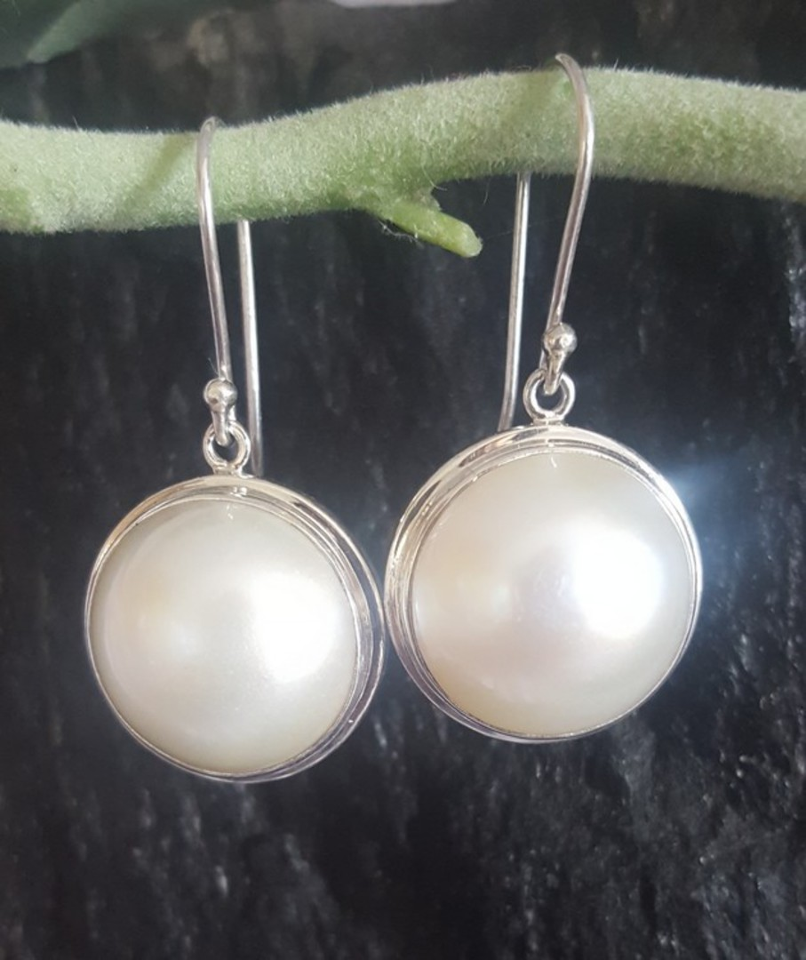 Large white mabe pearl earrings image 2
