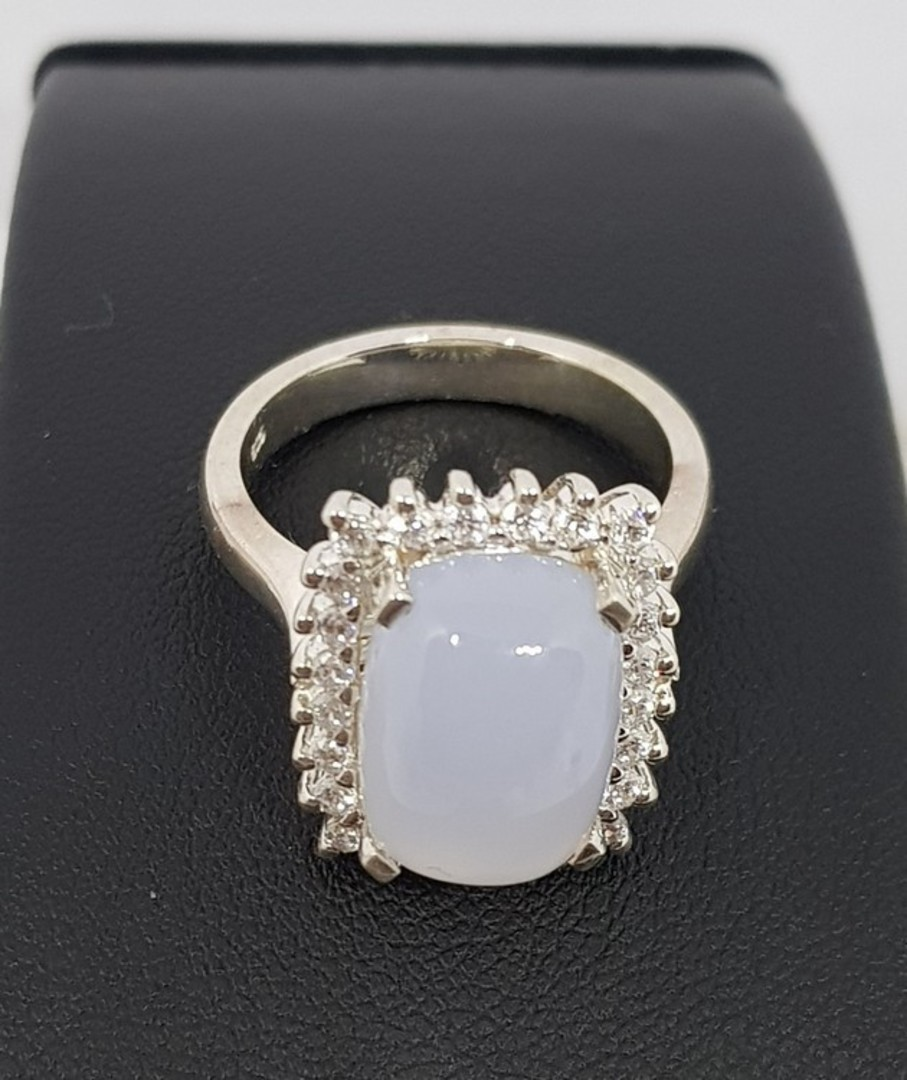 Sterling silver blue chalcedony ring image 3