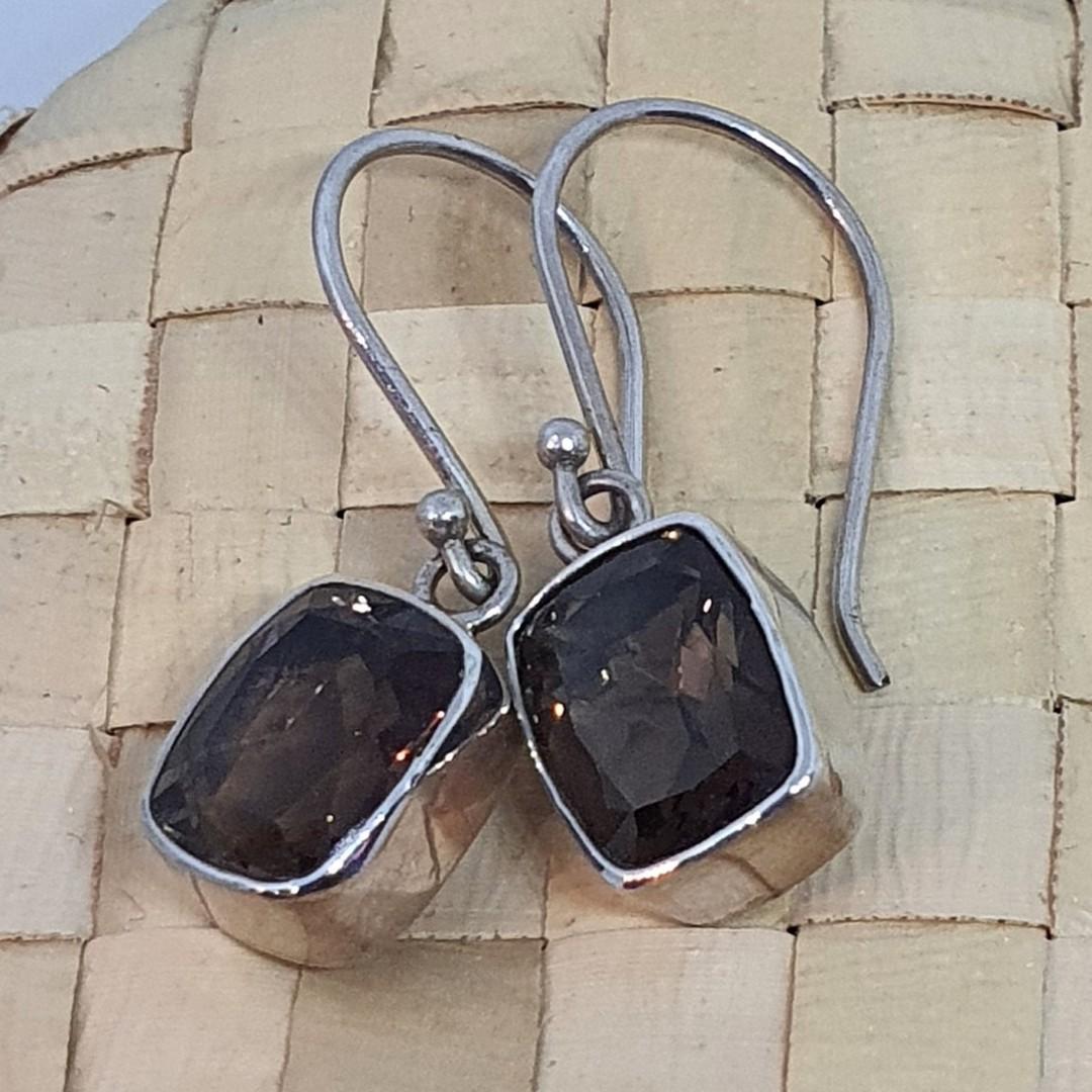 Smoky quartz silver earrings image 0