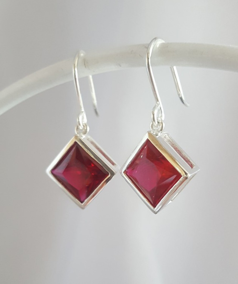 Sparkling red, princess cut synthetic ruby earrings image 3