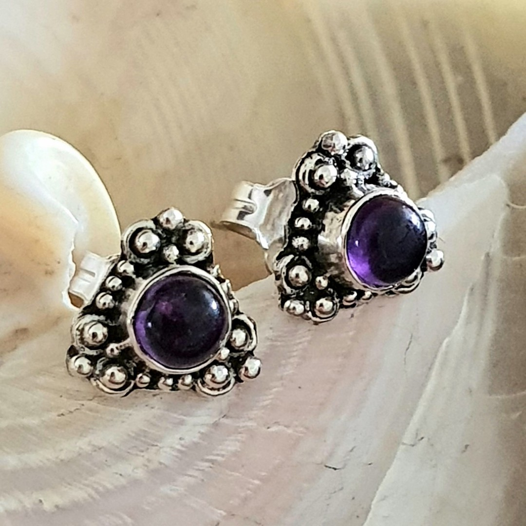 Silver stud earrings with natural amethyst image 1