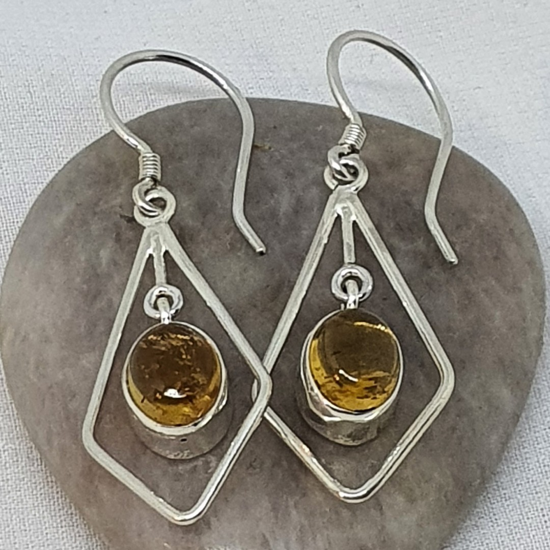 Silver hook earrings with oval citrine gemstone image 0