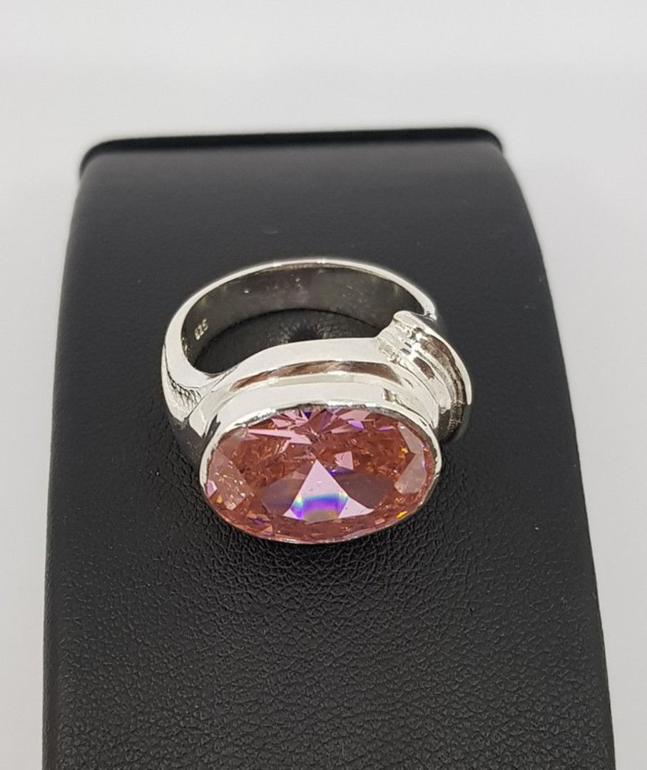 Sterling silver ring with large pink gemstone image 3