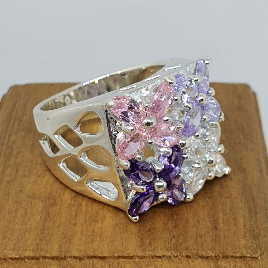 Flower dress ring with purple, pink and cz gems image 0